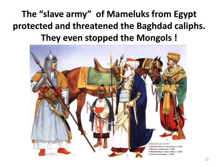 The slave army  of Mameluks from Egypt protected and threatened the Baghdad caliphs. They even stopped the Mongols !
