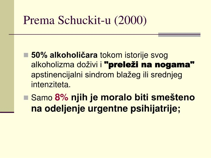 Prema Schuckit-u (2000)
