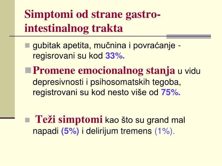 Simptomi od strane gastro-intestinalnog trakta