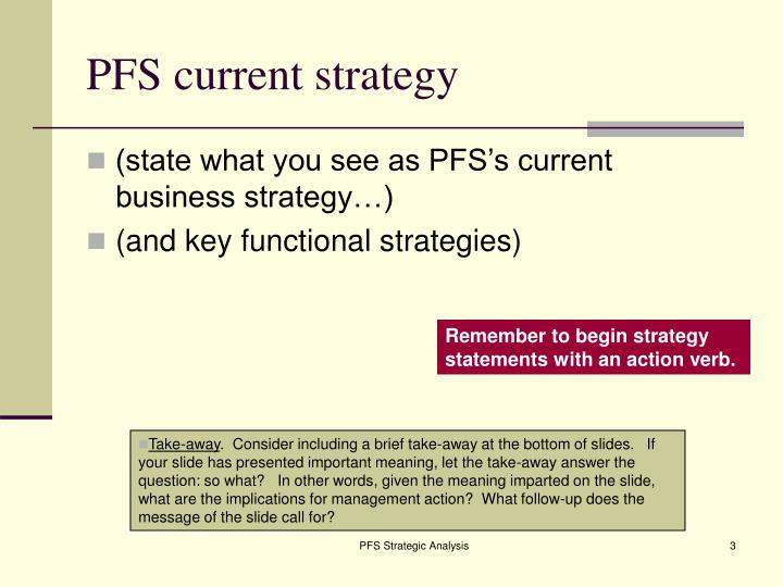 Pfs current strategy