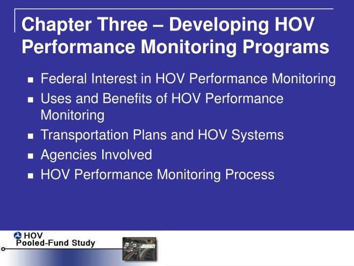 Chapter Three – Developing HOV Performance Monitoring Programs