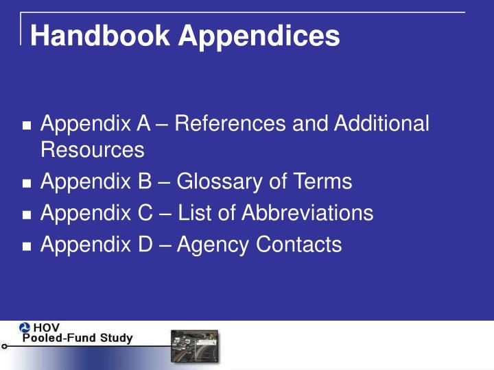 Handbook Appendices