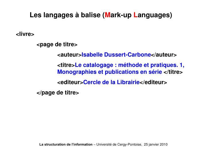 Les langages à balise (