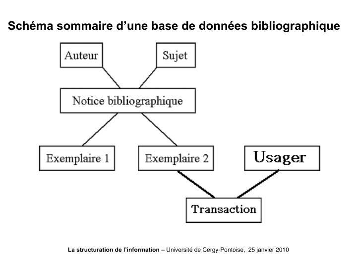 Schéma sommaire d'une base de données bibliographique