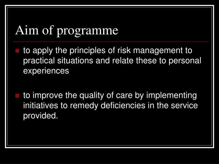 Aim of programme