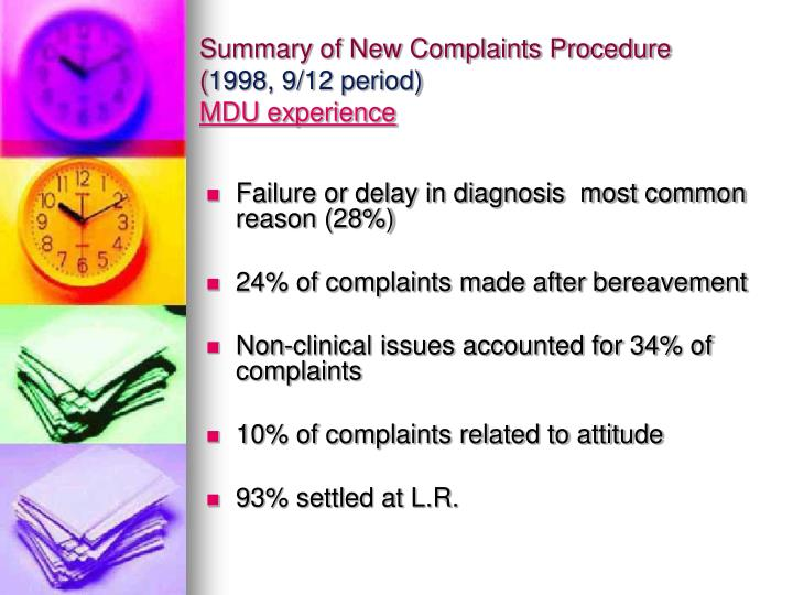 Summary of New Complaints Procedure (