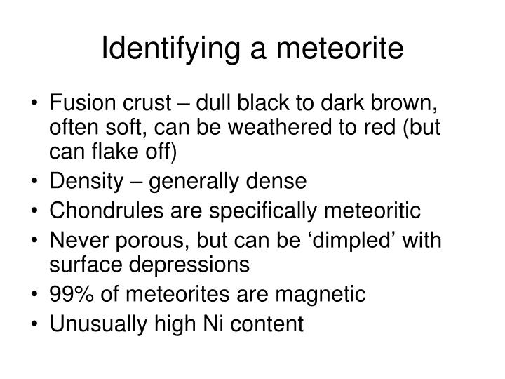Identifying a meteorite