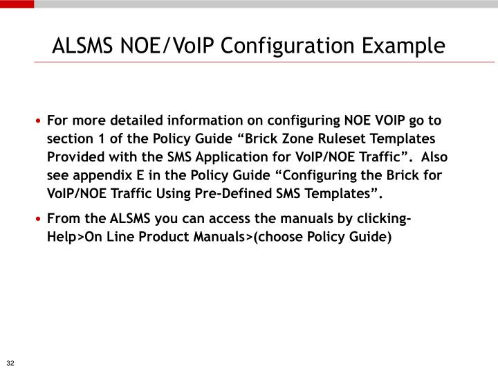ALSMS NOE/VoIP Configuration Example