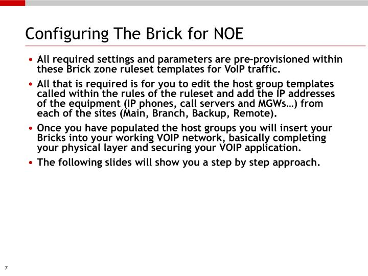 Configuring The Brick for NOE