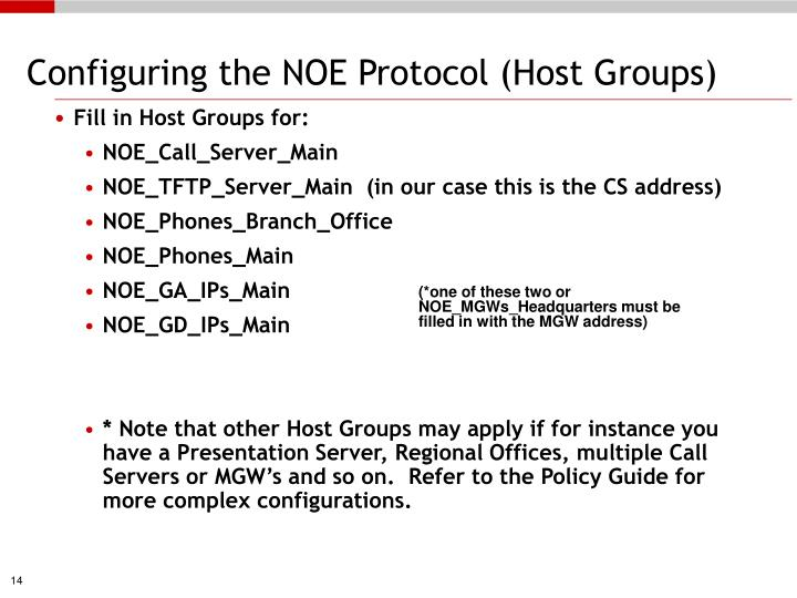Configuring the NOE Protocol (Host Groups)