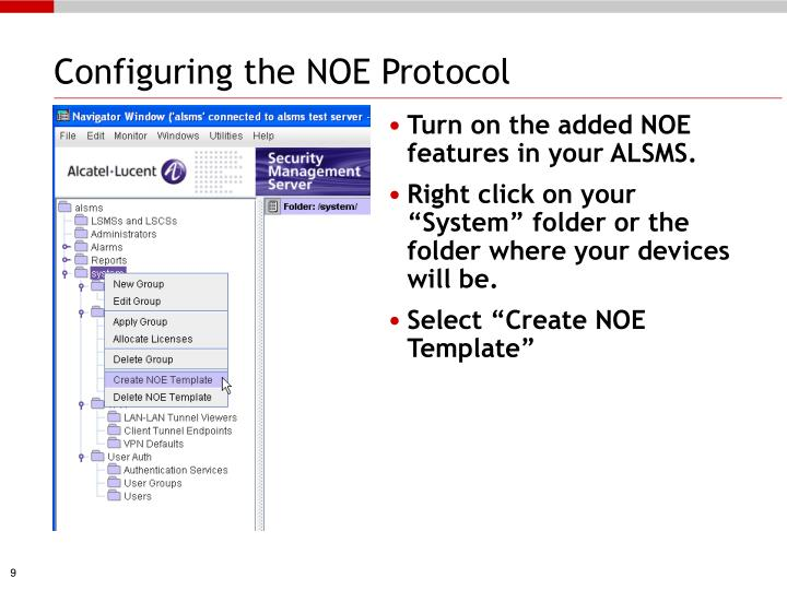Configuring the NOE Protocol