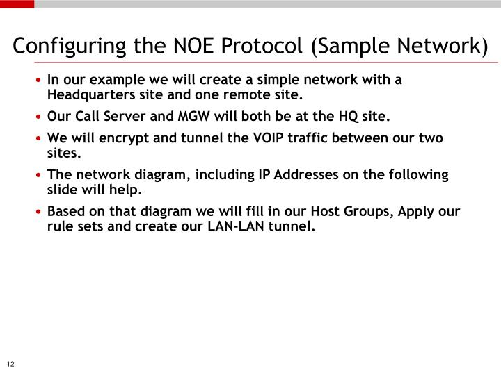 Configuring the NOE Protocol (Sample Network)