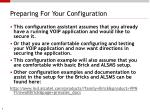 preparing for your configuration