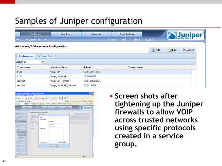 Samples of Juniper configuration