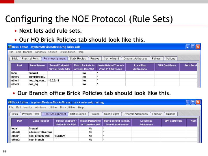 Configuring the NOE Protocol (Rule Sets)