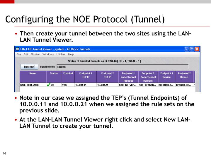Configuring the NOE Protocol (Tunnel)