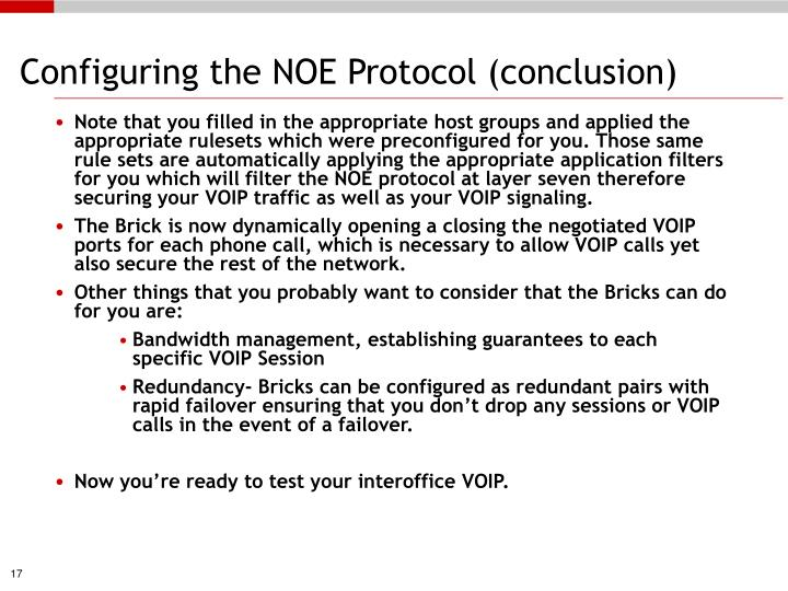 Configuring the NOE Protocol (conclusion)