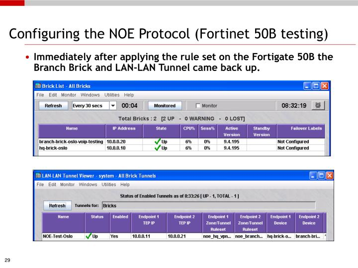 Configuring the NOE Protocol (Fortinet 50B testing)