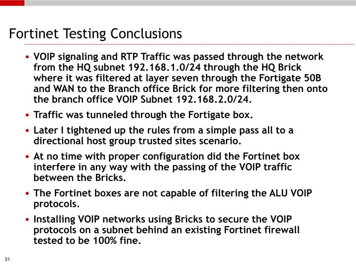 Fortinet Testing Conclusions
