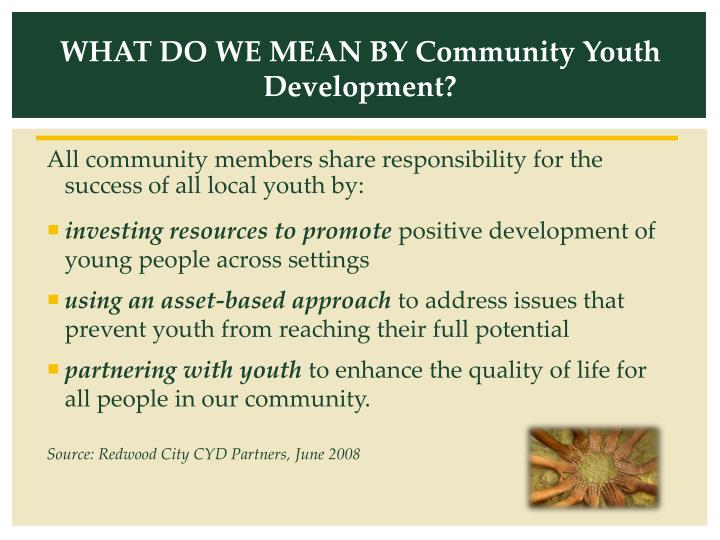 WHAT DO WE MEAN BY Community Youth Development?