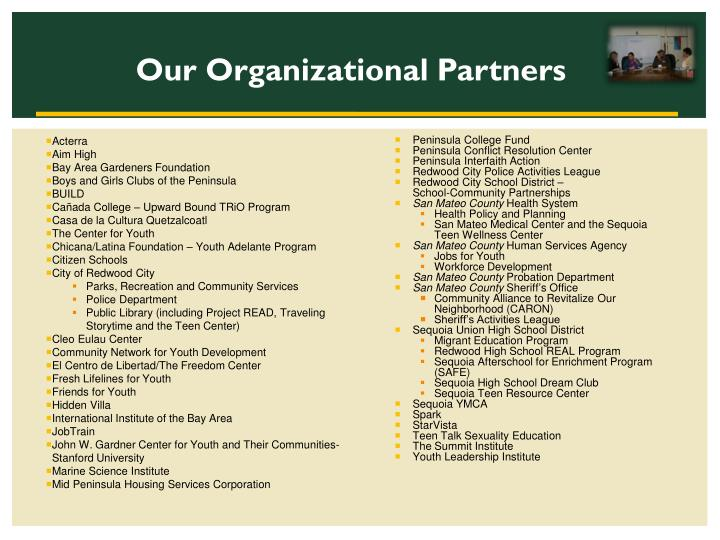 Our Organizational Partners