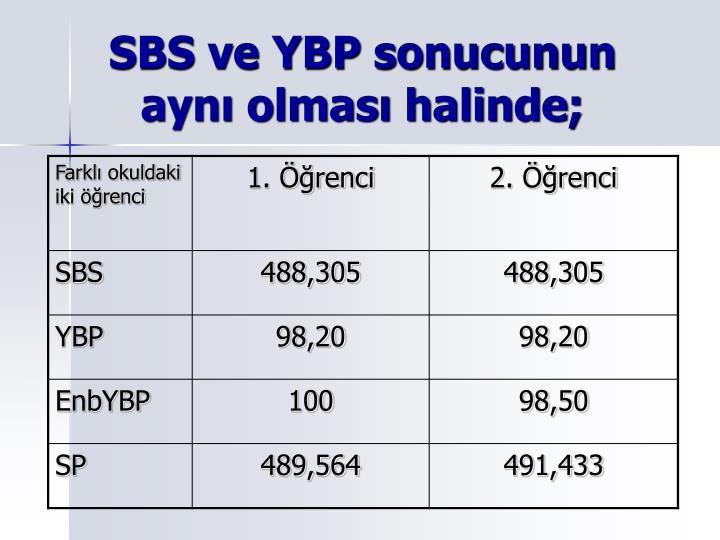 SBS ve YBP sonucunun ayn olmas halinde;