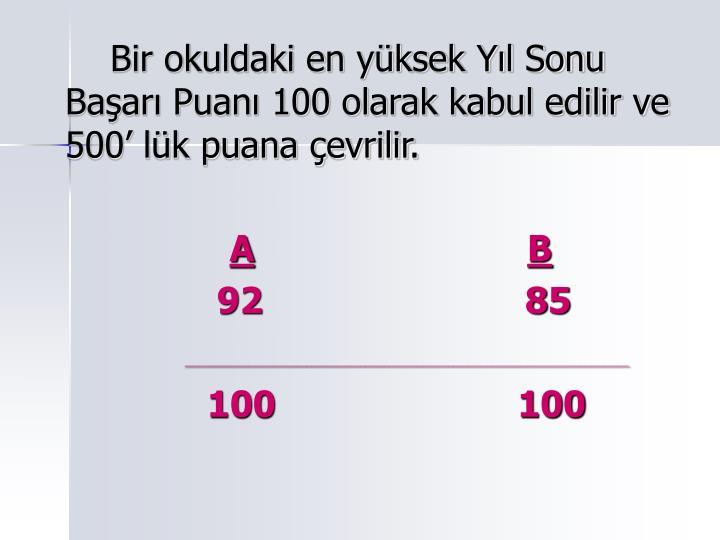 Bir okuldaki en yksek Yl Sonu Baar Puan 100 olarak kabul edilir ve 500 lk puana evrilir.