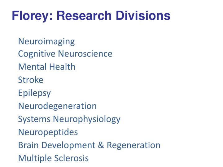 Florey: Research Divisions