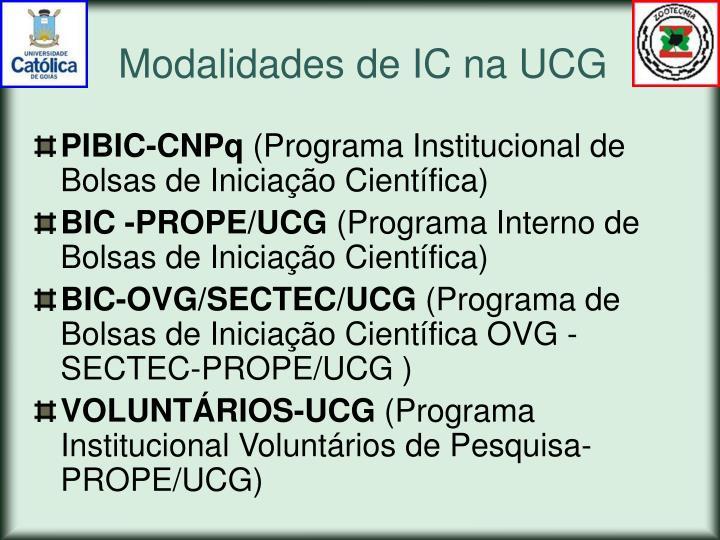 Modalidades de IC na UCG