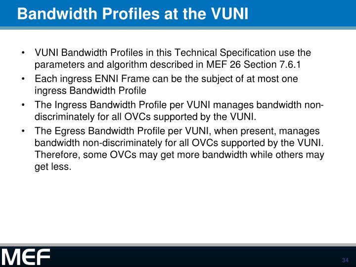 Bandwidth Profiles at the VUNI