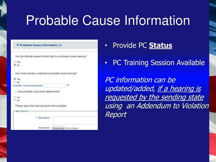 Probable Cause Information
