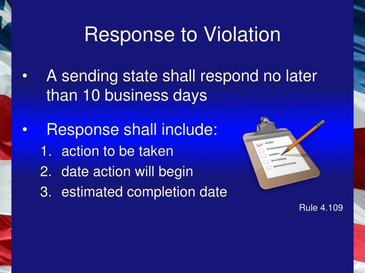 Response to Violation