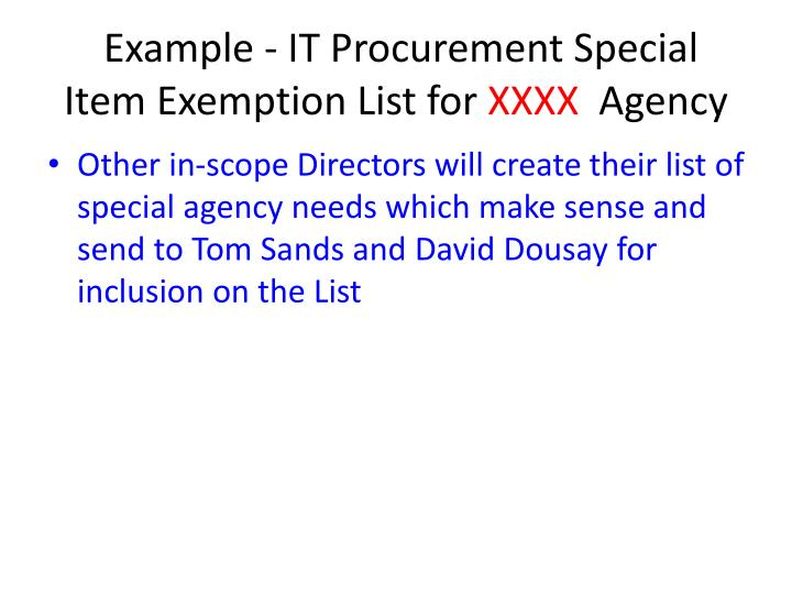 Example - IT Procurement Special Item Exemption List