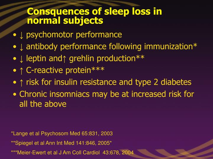 Consquences of sleep loss in normal subjects