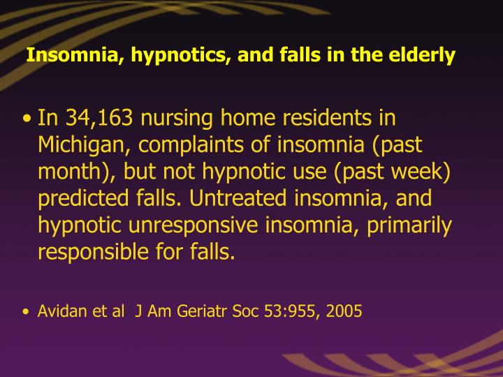 Insomnia, hypnotics, and falls in the elderly