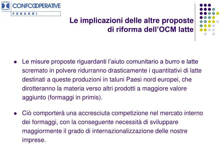 Le implicazioni delle altre proposte di riforma dell'OCM latte