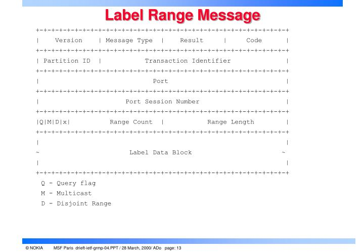 Label Range Message