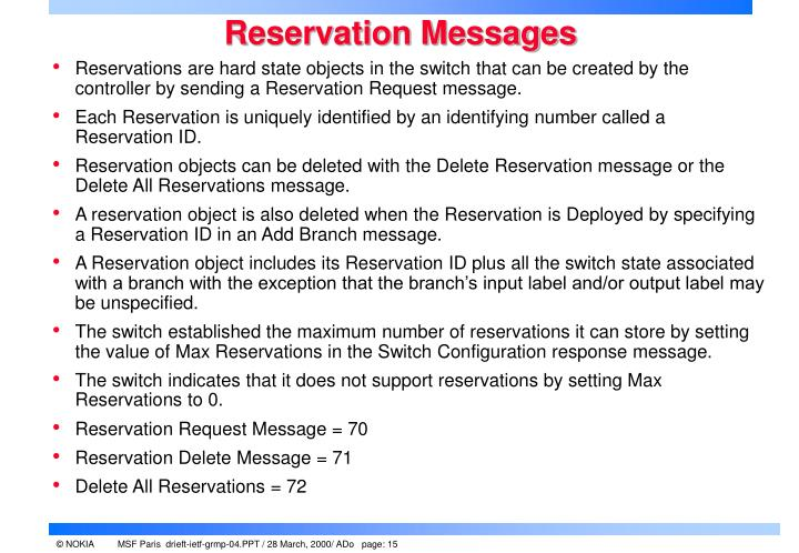 Reservation Messages
