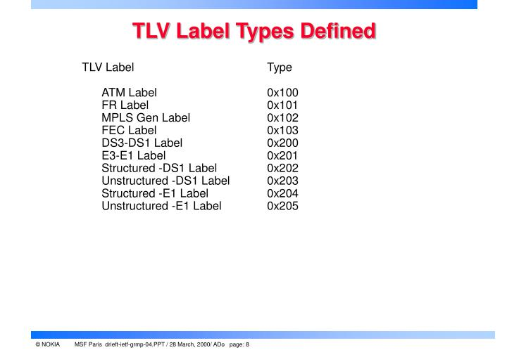 TLV Label Types Defined
