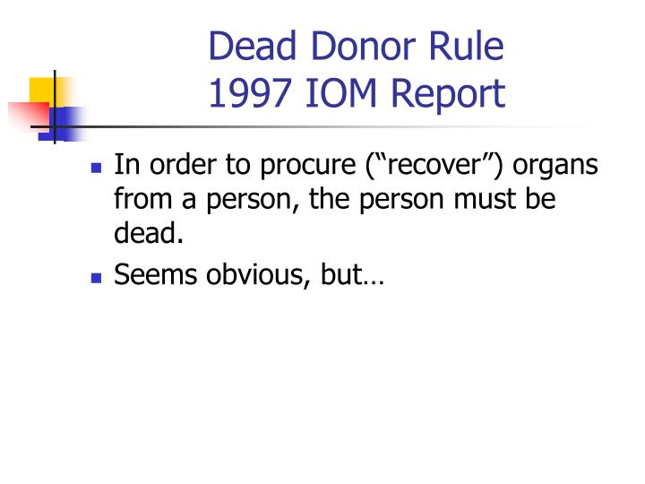 Dead Donor Rule