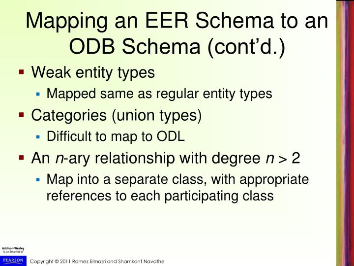 Mapping an EER Schema to an ODB Schema (cont'd.)