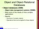 object and object relational databases