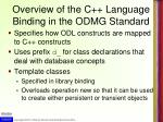 overview of the c language binding in the odmg standard