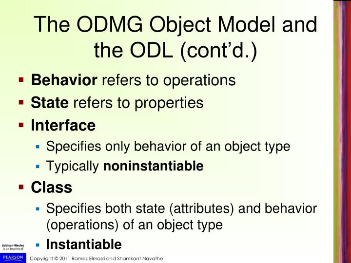 The ODMG Object Model and the ODL (cont'd.)