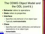 the odmg object model and the odl cont d