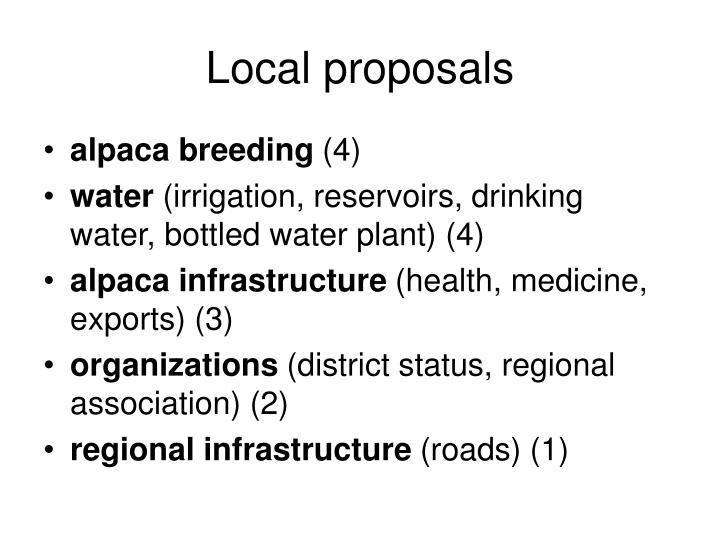 Local proposals