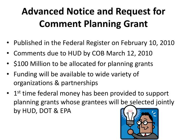 Advanced Notice and Request for Comment Planning Grant