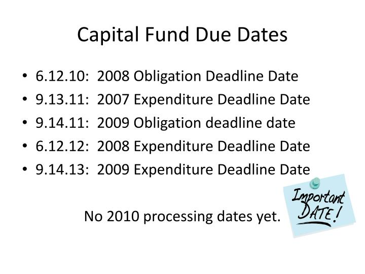 Capital Fund Due Dates