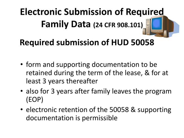Electronic Submission of Required Family Data