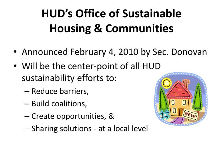 HUD's Office of Sustainable